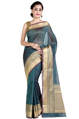 (Chandrakala Women's Sea Green Cotton Silk Banarasi Saree,Free Size(1258SEA))
