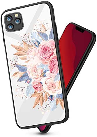 Oihxsetx Compatible for iPhone 11 6.1''-BK Tempered Glass Case,Clear Rose Pattern Glass Back Soft Silicone Rubber Gel Shockproof Bumper [Anti-Yellow] Transparent Protective Cover - Bouquet