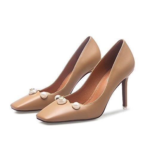 Altos Color 37 SDUDIO Tacones El Cabezal Zapatos Mujer Desnudo Cuadrado Viento Y Y Fang De Europeos Americanos El R6qwUZU