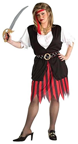 Forum Novelties Women's Plus-Size Pirate Woman Plus Size Costume, Black/Red, Plus (Adult Female Pirate Costume)