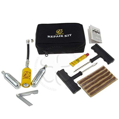 Tools - Misc - Tire Repair Kit - Reamer Tool, Hook Tool, Plugs, CO2 Cartridge, YPT102 Regulator, Knive, Glue, Stem Adaptor, Instructions, Black Bag