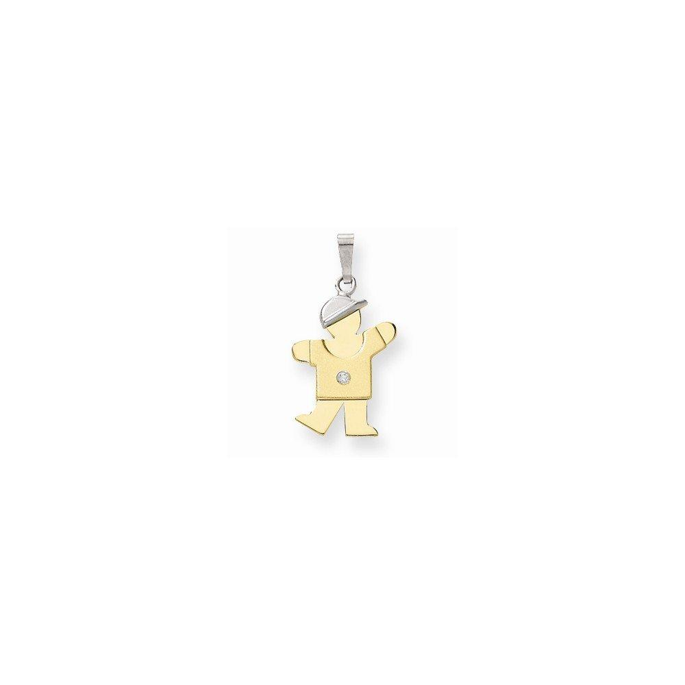 14k Two-tone AA Diamond kid pendant