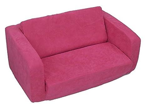 Fun Furnishings 55204 Toddler Flip Sofa In Micro Suede Fabric, Hot Pink