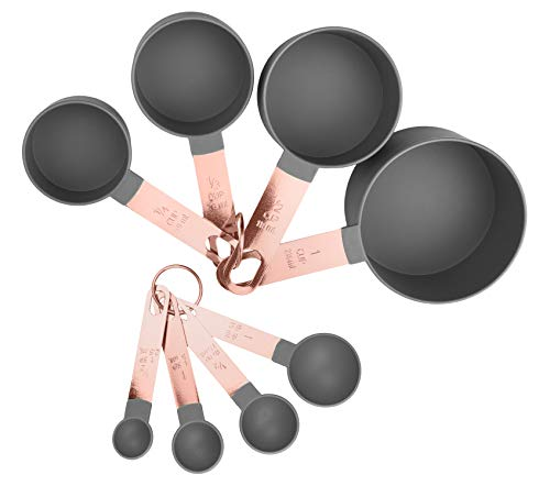 COOK With COLOR 8-Piece Grey Nylon Measuring Cups and Measuring Spoon Set With Rose Gold Copper Handles