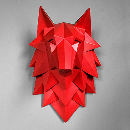 (JDSHSO Wolf Head Statue Home Cafe Office Decor Modern Wall Mounted Animal Abstract Sculpture 3D Resin Crafts Deer)