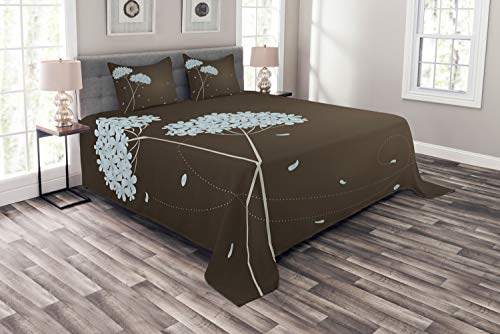 Ambesonne Brown and Blue Bedspread Set Queen Size, Floral Design with Swirl Lines Falling Leaves Autumn Inspired, 3 Piece Decorative Quilted Coverlet with 2 Pillow Shams, Brown Seafoam ()