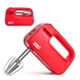 Dash SHM01DSRD Smart Store Compact Hand Mixer Electric for Whipping + Mixing Cookies, Brownies, Cakes, Dough, Batters, Meringues & More, 3 Speed, Red