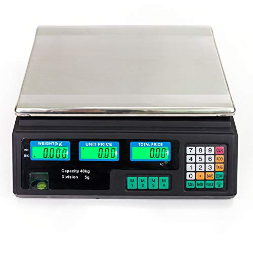 Convenient And Precise Save Power 88 LB 40KG/5g Digital Weight Scale Price Computing Food Meat Produce Deli Market Auto Shut Off Memory Recall