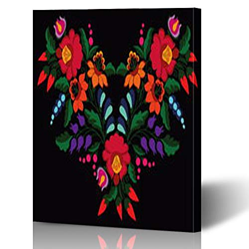 HugeDecor Painting Canvas Prints Wall Art Hungarian Folk Arts Floral 12 x 16 Inches Modern Artwork Home Decor Living Room Office Bedroom