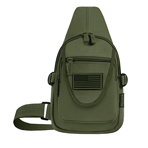 Travel Military Tactical Army Camo Sling Backpack Chest Bag army green - 7