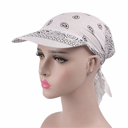 Qhome Unisex Paisley Visor Pre Fitted Bandana Hat Outdoor Sun Bandans Cap Head Scarf Bandit Turban Cap -