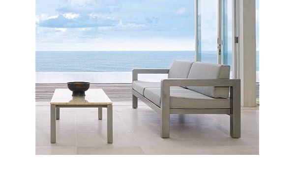 Mesa de centro con tapa de granito en Aluminio : Coleccion SUFFOLK gris plata: Amazon.es: Jardín