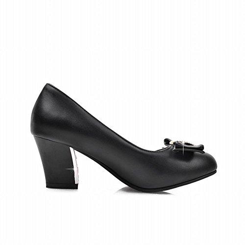 Shoes Latasa Fashion Chunky Mid toe Round heel Bow Black Pumps Womens wRAwpqS