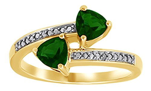 Diamond Accent Bypass Ring - Simulated Green Emerald CZ and Natural Diamond Accent Bypass Ring in 925 Sterling Silver
