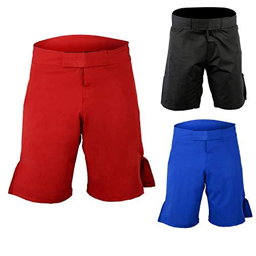 (ROAR MMA Fight Shorts UFC Grappling Muay Thai BJJ Crossfit Training Jiu Jitsu No Gi Wear (Small, Simple-Red))