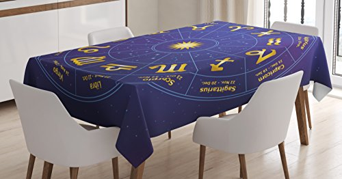 Ambesonne Astrology Tablecloth, Horoscope Zodiac Signs with Birth Dates in Circle with Star Dots Print, Dining Room Kitchen Rectangular Table Cover, 52 W X 70 L inches, Royal Blue and Yellow