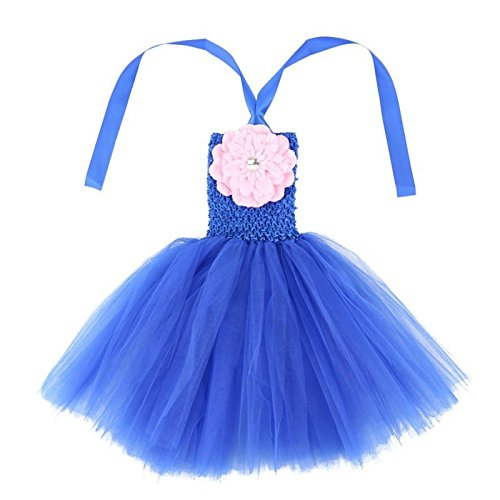 Wennikids Baby Girls TUTU Dress Crochet Tube Top Baby Pettiskirt with Match Flower Small Royal Blue