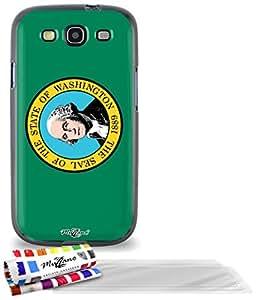 """Carcasa Flexible Ultra-Slim SAMSUNG GALAXY S3 de exclusivo motivo [Washington Bandera] [Negra] de MUZZANO  + 3 Pelliculas de Pantalla """"UltraClear"""" + ESTILETE y PAÑO MUZZANO REGALADOS - La Protección Antigolpes ULTIMA, ELEGANTE Y DURADERA para su SAMSUNG GALAXY S3"""
