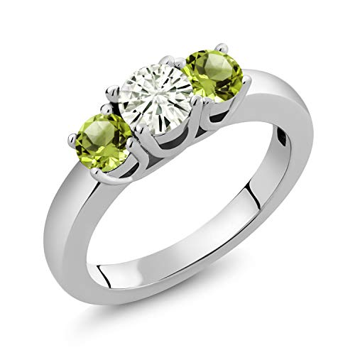 925 Sterling Silver 3-Stone Ring Forever Classic (KLM) Round 0.50ct (DEW) Created Moissanite by Charles & Colvard and Peridot (Size 6) ()