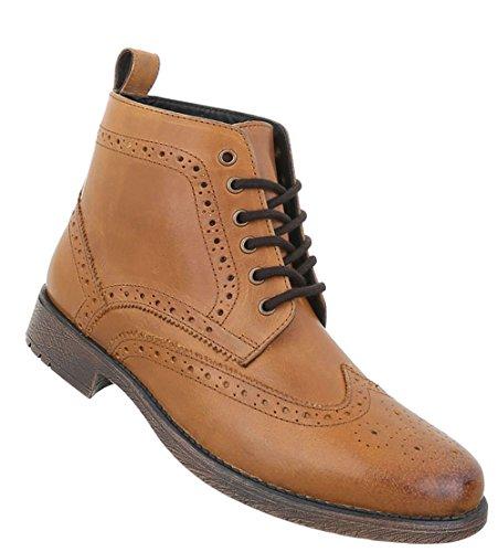 Herren Schuhe Boots Used Optik Leder Schnürer Camel