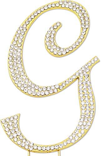 Sparkly Rhinestones Letter G Cake Topper, Birthday Wedding Anniversary Gold Initial G ()