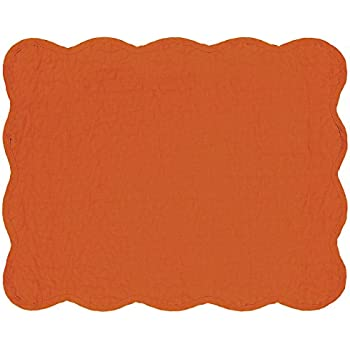 Great Finds 0263 PM Persimmon Solid Pattern Placemat, Set of 4, Orange/Rust