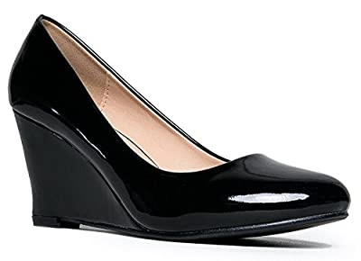 J. Adams Molli Low Closed Toe Wedge Heel, Black Patent, 7 B(M) US