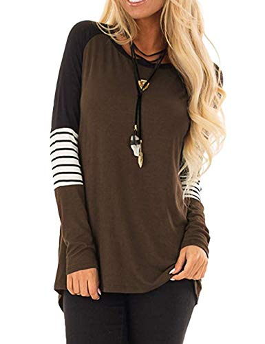 (Promaska Women's Knitwear Long Sleeve T Shirts (M, Brown))
