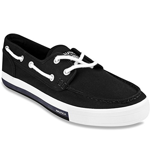 Nautica Deck Shoes - Nautica Men's Spinnaker Lace-up Boat Shoe, Casual Loafer, Fashion Sneaker-Black Canvas-11