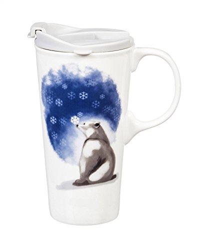 (Cypress Home Polar Bear Believe Ceramic Travel Mug with Gift Box, 17 ounces)