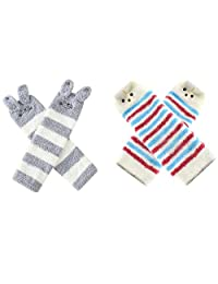 Baby Boy Girls Soft Fuzzy Leg Warmer Toddler Kids Cute Knee Pad Boot Sock 2 Pack