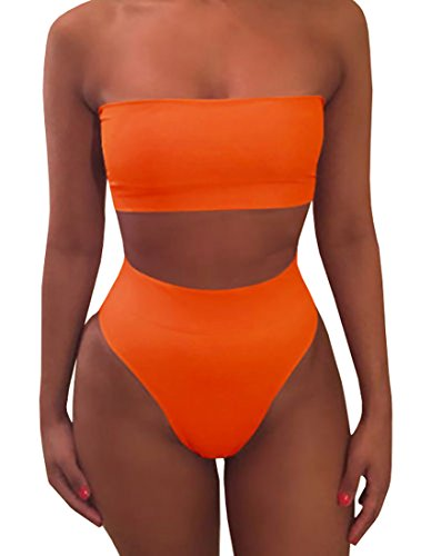 Misassy Womens Sexy High Waisted Bikini 2 Piece Bandeau Swimsuit Top Cheeky Bottoms - Piece 2 Swimsuit