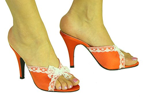 Red High Heel Satin Lace Trim Slippers Court Mule FSLACE804RSC UK 4 5 6 7 8 edxzV8vMOU