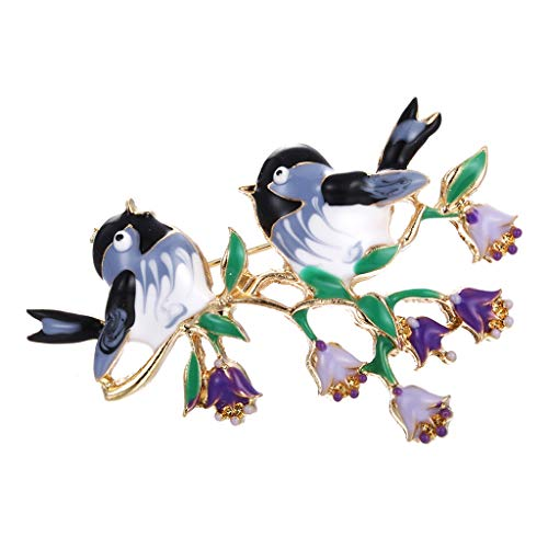 (HomeMals A Couple Of Bird Flower Brooch Rhinestones Enamel Paint Brooch Pin Jewelry for Women Girls )