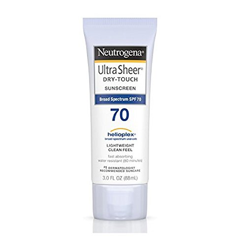 Neutrogena Ultra Sheer Dry-Touch Water Resistant and Non-Greasy Sunscreen Lotion with Broad Spectrum SPF 70, 3 fl. oz (Pack of 2)