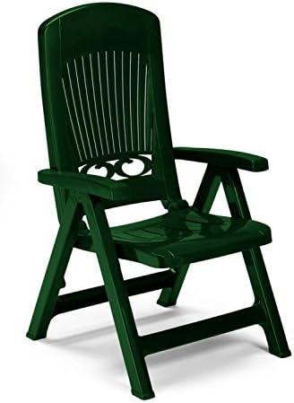 Dos sillones en resina Verdone, sillones Splendida chiudibili de jardín, sillón respaldo alto de plástico ajustable: Amazon.es: Hogar