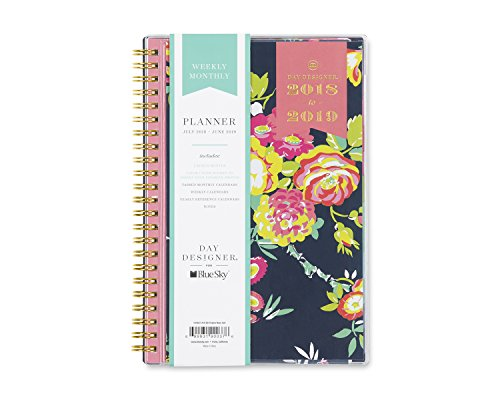 Day Designer for Blue Sky 2018-2019 Academic Year Weekly & Monthly Planner, Flexible Cover, Twin-Wire Binding, 5'' x 8'', Peyton Navy Design by Blue Sky