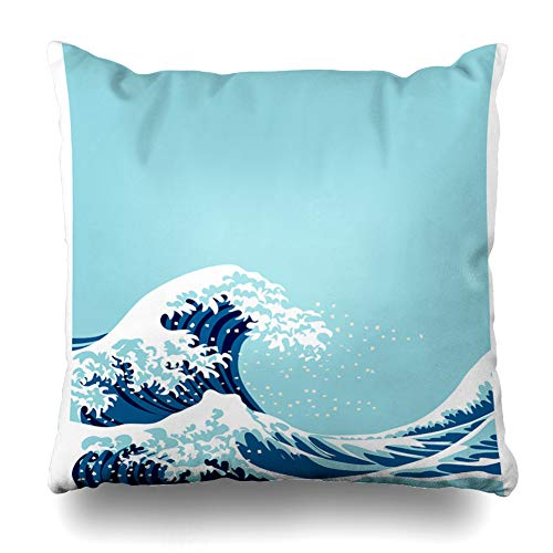 - GisRuRu Throw Pillow Cover Blue Hokusai Big Wave Graphic for Sea Abstract Nature Ocean Color Copy Design Home Decor Pillowcase Square Size 16 x 16 Inches Zippered Cushion Case