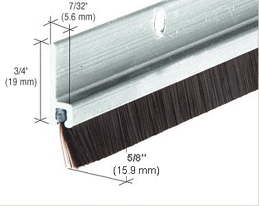 Aluminum Anodized and Nylon Door 5/8'' Bristle Weatherstrip - 72 in long