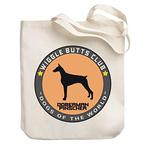 Teeburon Doberman Pinscher Wiggle Butts Club Pin Canvas Tote Bag 10.5