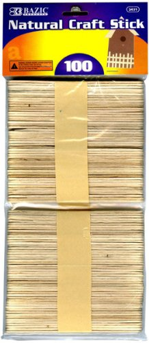 BAZIC Natural Craft Sticks, Wood, 100 Per Pack