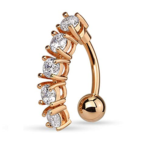 Pierced Owl 5 CZ Crystal Vertical Drop Reverse Belly Button Navel Ring (Rose Gold Tone/Clear)