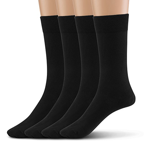 Silky Toes Modal 4Pk Flat Men's Dress Crew Socks, Super Soft Socks (10-13, Black (Flat Knit-4 Pairs)) (Classic Flat Knit Sock)