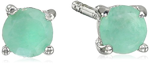 Sterling Silver Round Emerald Earrings