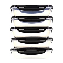 6 Pack Fitness Sure Seal Containers 24oz Clear/Black Set of 5