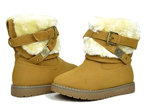 Dream Pairs Toddler Kailey Camel Faux Fur Lined Mid Calf Winter Snow Boots - 10 M US Toddler