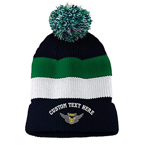 Custom Text Embroidered Aircrew Medal Unisex Adult Acrylic Vintage Striped Removable Pom Pom Beanie Skully Hat - Navy/Green/White (Air Medal Hat)