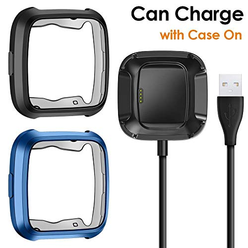 CAVN Case Charger Compatible with Fitbit Versa, TPU Bumper Protective Cover Protector + 3.3 FT Replacement Charging Cable (Can Charge Case On) (Black/Blue)