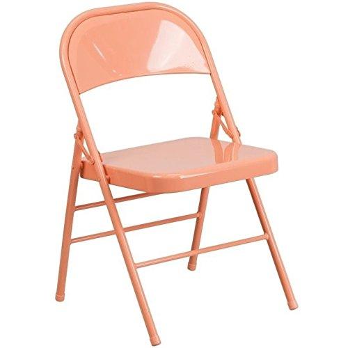 Flash Furniture HERCULES COLORBURST Series Sedona Coral Triple Braced & Double Hinged Metal Folding Chair