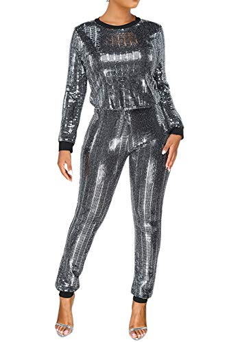 Womens Sexy 2 Piece Outfit Top and Skinny Legging Jogging Set Slim Fit Tracksuit Party Silver S